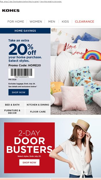 20 Off Home Is Knocking On Your Door Kohl S Email Archive