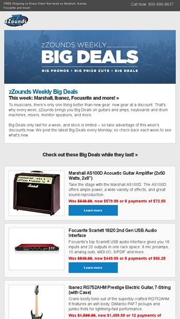 Save BIG on New Gear All Week - zZounds News Email Archive
