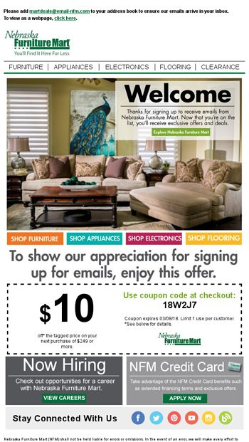 Welcome To Mart Deals Nebraska Furniture Mart Email Archive