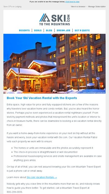 Book Your Ski Vacation Rental with the Experts - Ski Email Archive