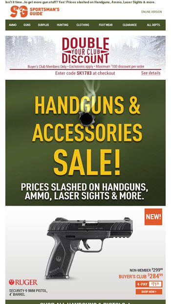 Ruger Security-9 9mm, low as $284 99  Plus many more Deals