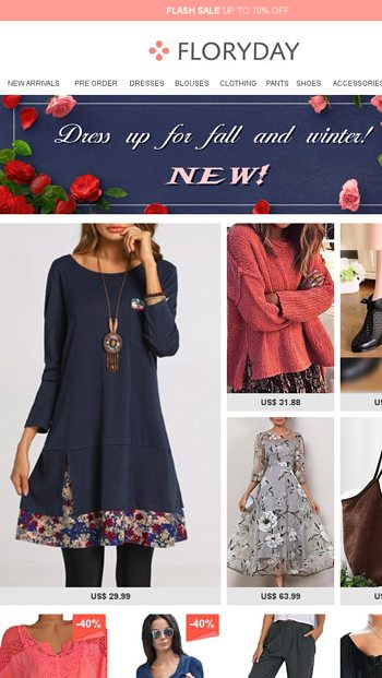 14be1206be534 Dress up for fall and winter! New! - Floryday Email Archive
