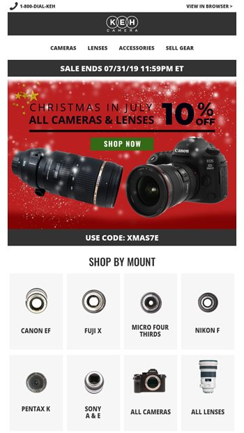⏰Save 10% On Cameras & Lenses ⏰ - KEH Camera Email Archive