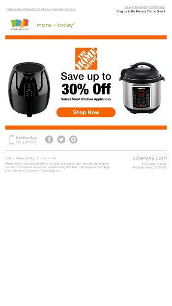 Home Depot Save 30 On Small Kitchen Appliances Coupons Com Email Archive