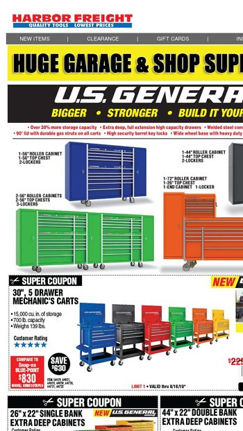 Huge Garage & Shop Blowout Sale - Harbor Freight Tools Email