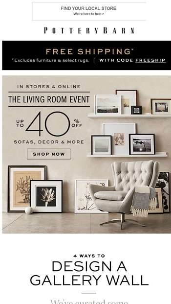 How to Style Your Gallery Wall + Up to 40% Off - Pottery ...