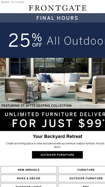Final Hours: 25% off all outdoor