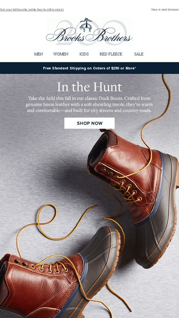 902eb047ea6 Quack back  Duck boots are here again - Brooks Brothers Email Archive