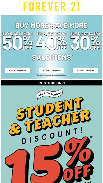In Store Only 15 Off Student Teacher Discount Forever 21 Email Archive
