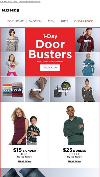 f18f5b57 $10 off + 1-Day Doorbusters = Stackable savings - Kohl's Email Archive