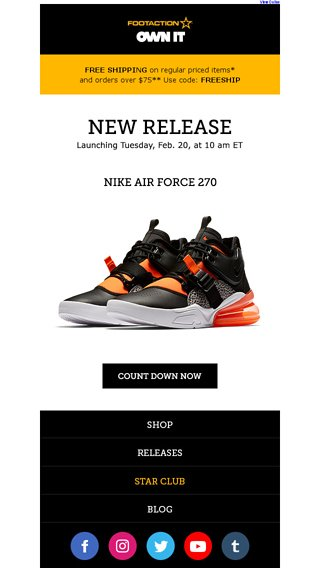 new style 55b09 4db07 Nike Air Force 270 – available tomorrow! - Footaction Email ...