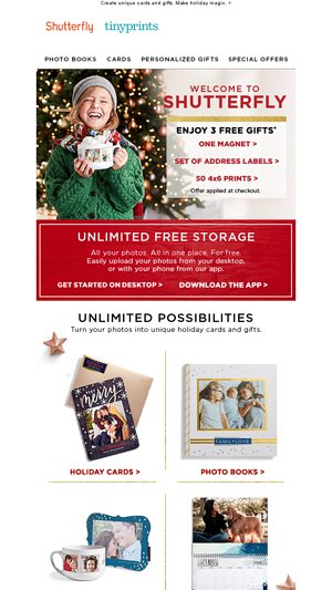 Welcome to Shutterfly! Enjoy 3 FREE gifts  - David's Vendor