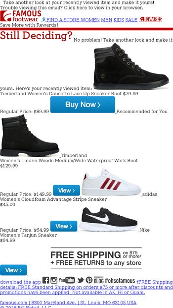 Famous Footwear Email Archive