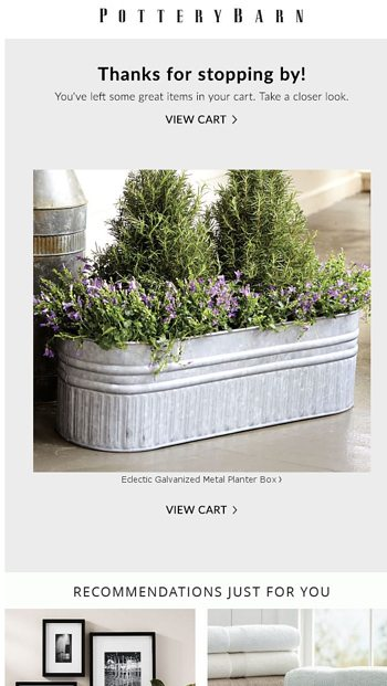 Forget Something Items Remain In Your Cart Pottery Barn Email Archive