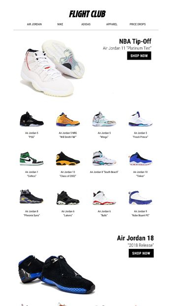 72752db7f0e37f NBA Tip-Off Selects feat. the New Air Jordan 11 Platinum Tint and more. - Flight  Club Email Archive