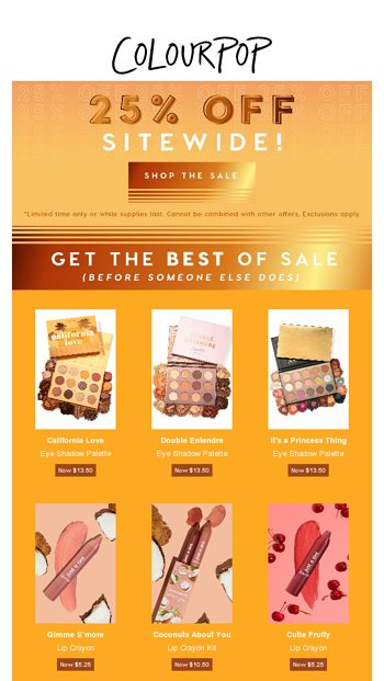ColourPop Cosmetics Email Newsletters