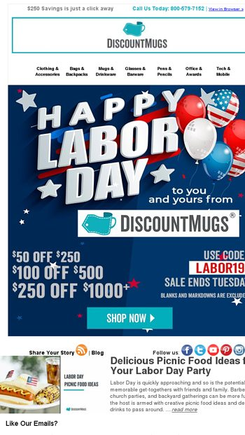 DiscountMugs Email Newsletters