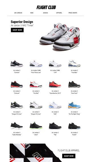 a8314e4e9a4 Shop the latest & greatest in Air Jordan 3 feat. the NRG Tinker and New  Apparel selects. - Flight Club Email Archive