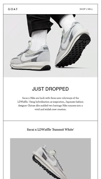 Just Dropped: New colors of Sacai x Nike LDWaffle GOAT