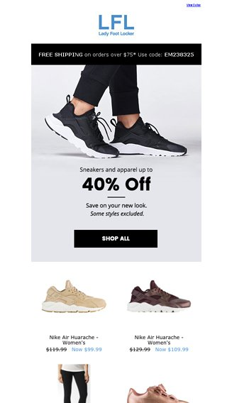 08d61c43e6fa Refresh your style with up to 40% off - Lady Foot Locker Email Archive