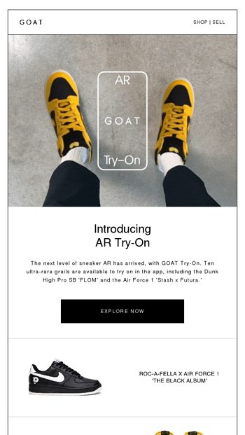 Try On Grails in AR - GOAT Email Archive