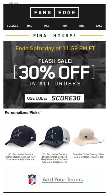 FINAL HOURS  30% OFF ALL ORDERS - FansEdge Email Archive 9a6211adf56
