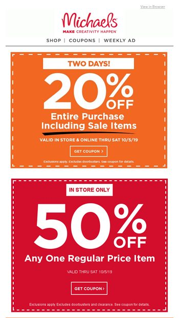 Craftoberfest Continues With 2 More Days Of Coupons Doorbusters Michaels Email Archive