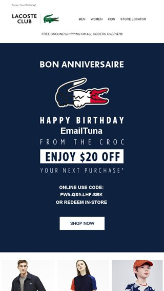 67b182474 2 weeks left to redeem your  20 birthday treat from LACOSTE! - Lacoste  Email Archive