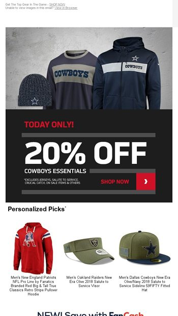e7378ba8 24 Hours Only! 20% Off Cowboys Gear - NFLShop Email Archive