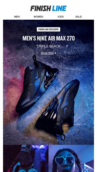 Air Max 270 — Exclusive Triple Black colorway. - Finish Line Email Archive 5c279fb5ee8c