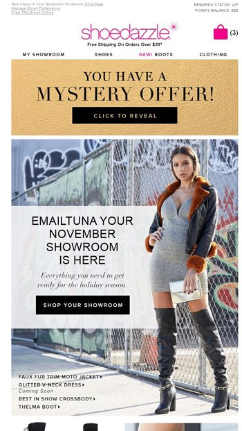 63e0680fe EmailTuna, Your November Showroom Is Ready with a Mystery Offer! -  ShoeDazzle Email Archive