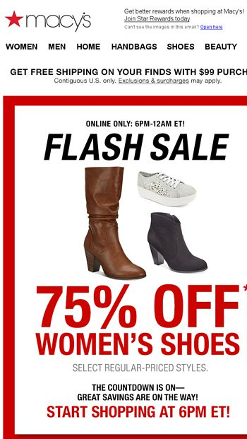 off select shoes from 6PM-12AM ET only
