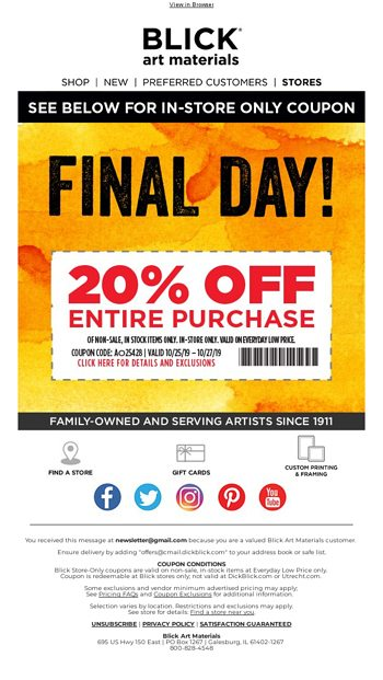 Sunday Funday With A 20 Off Coupon Blick Art Materials Email Archive