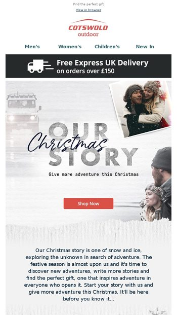 Give more adventure this Christmas - Cotswold Outdoor Email