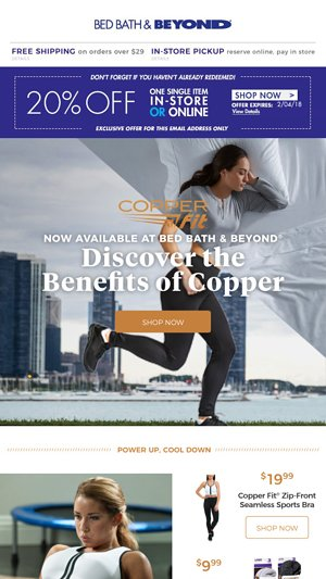 ef8e655ef4 Did you know the amazing benefits of copper  Let us thank you with a 20%  off coupon. - Bed Bath   Beyond Email Archive