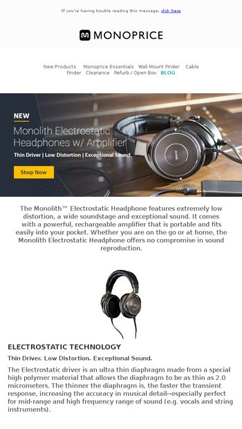 NEW: Monolith Electrostatic Headphone w/ Rechargeable