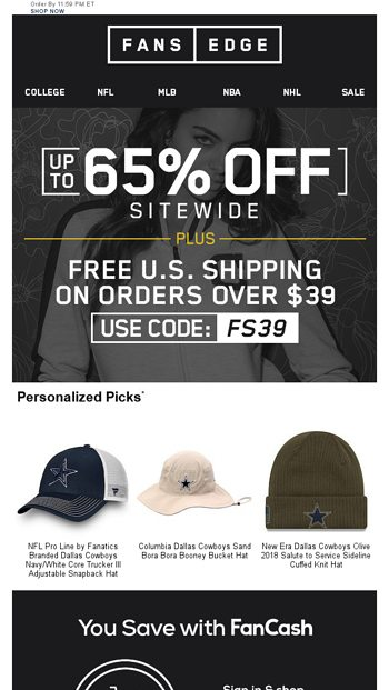 Your Last Chance  Up To 65% Off + Free Shipping - FansEdge Email Archive b26a54f3cb9