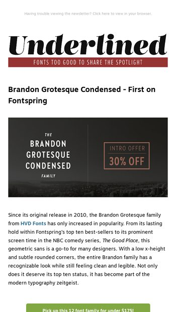 Brandon Grotesque Condensed from HVD Fonts: First on