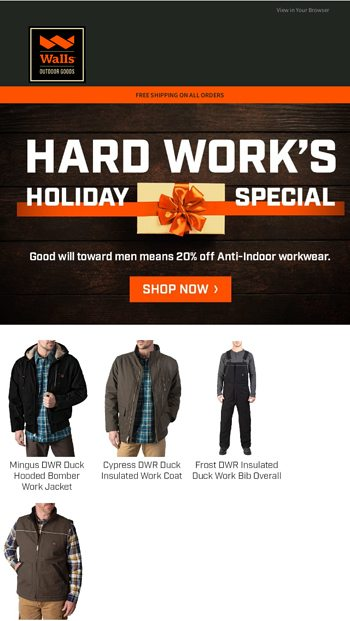 Early holiday savings: 20% off Anti Indoor workwear Walls