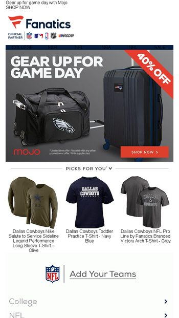 ccbb2b16c36 Road Trip Approved! A Special 40% Offer... - Fanatics.com Email Archive