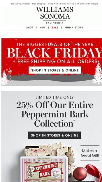 Black Friday Shop Save Ship For Free All Weekend Williams Sonoma Email Archive