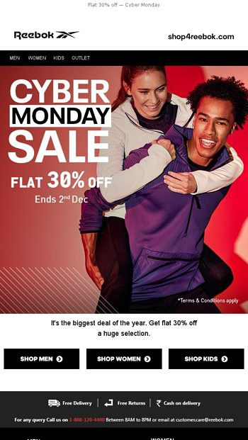 Flat 30% Off Cyber Monday Reebok Online Store Email Archive