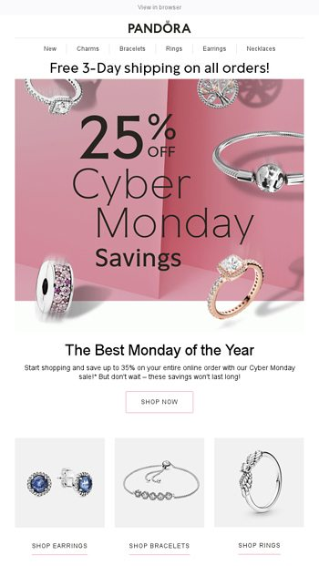 Limited Time Only Get 35 Off Your Order For Cyber Monday Pandora Jewelry Email Archive