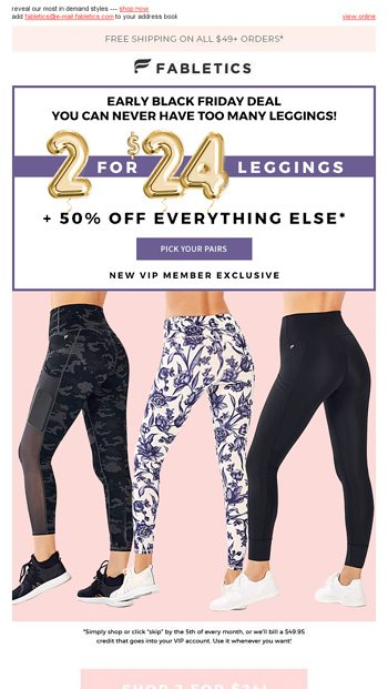 1e014bbbcb49d 2 for $24 leggings we can't keep in stock! - Fabletics Email Archive