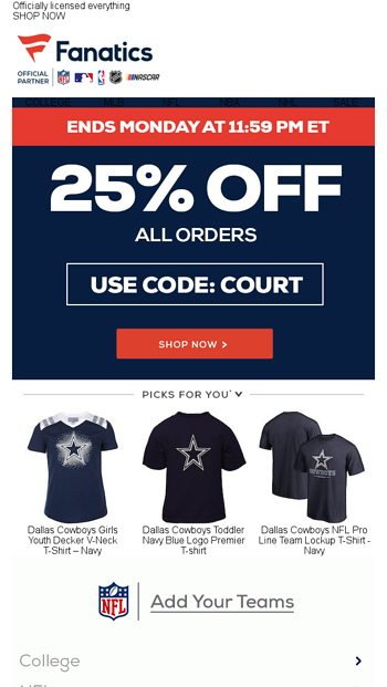 97ffd861a BEAT THE CLOCK  25% Off Final Hours - Fanatics.com Email Archive