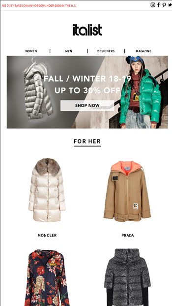 1093b3d0fdb More Sale! Chalet to the Runway l Up to 40% off Winter 2019 Collection for  Men and Women - italist Email Archive