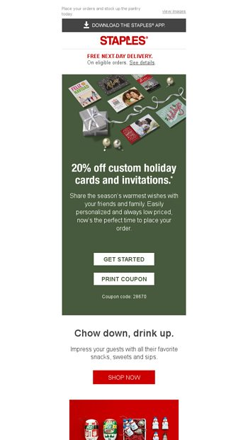 20 off holiday cards invites and did someone say party snacks