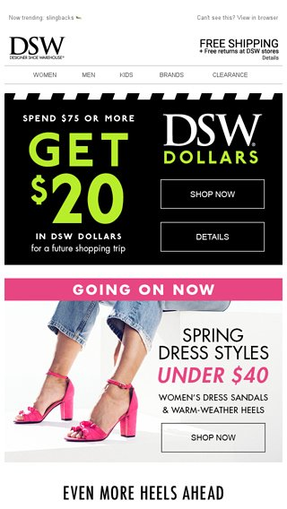 18d4be91b614 DSW Dollars   (basically) free money. - DSW Email Archive