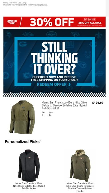 2d31acc867a Still Thinking It Over  Get It Today With Free Shipping - NFLShop Email  Archive