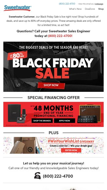 Our Black Friday Sale Starts Now Sweetwater Email Archive